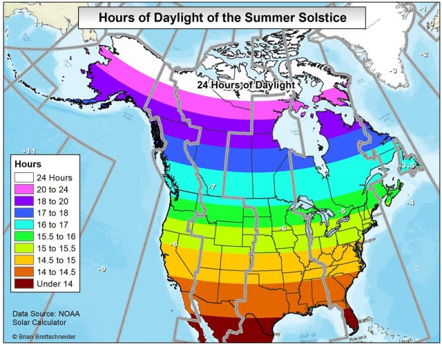 Hours of daylight of the summer solstice