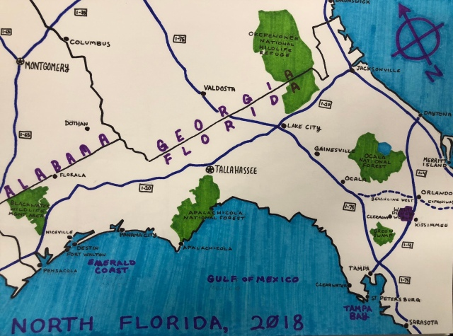 Map Of Greater North Florida At A 45 Angle Prior Probability
